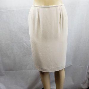 Kasper Cream Knee Length Pencil Skirt Size 6P